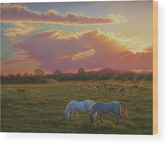 Southwest Wood Print featuring the painting September Sunset In Taos by Johanna Girard