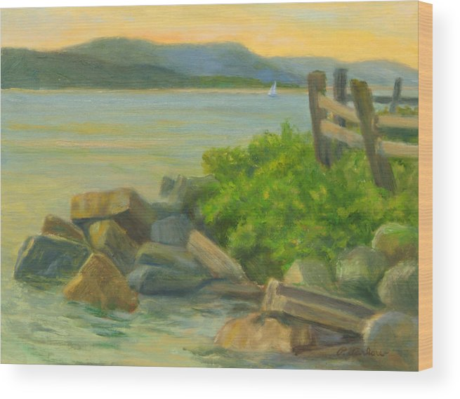 Landscape Wood Print featuring the painting Serenity On The Hudson by Phyllis Tarlow