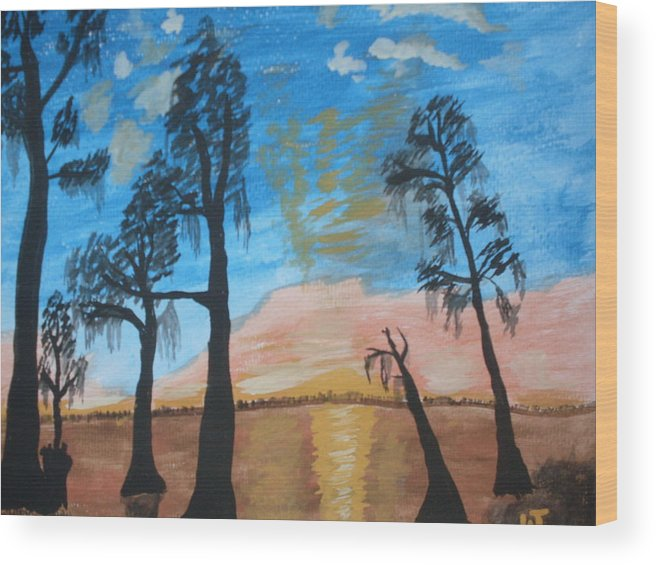 Acrylic Sunset Lake Trees Wood Print featuring the painting Serenity by Warren Thompson
