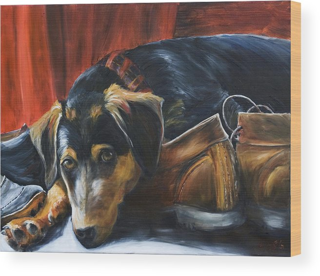 Dog Wood Print featuring the painting Shoe Dog by Nik Helbig