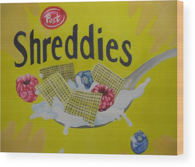 Shreddies Wood Print featuring the painting Shreddies by Theodora Dimitrijevic