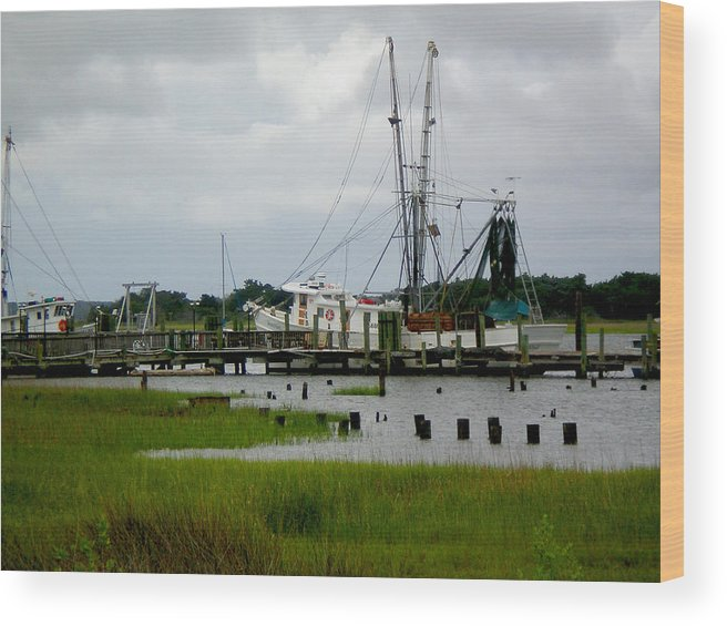 Fish Wood Print featuring the photograph Shrimp Boats by Jeffrey Zipay
