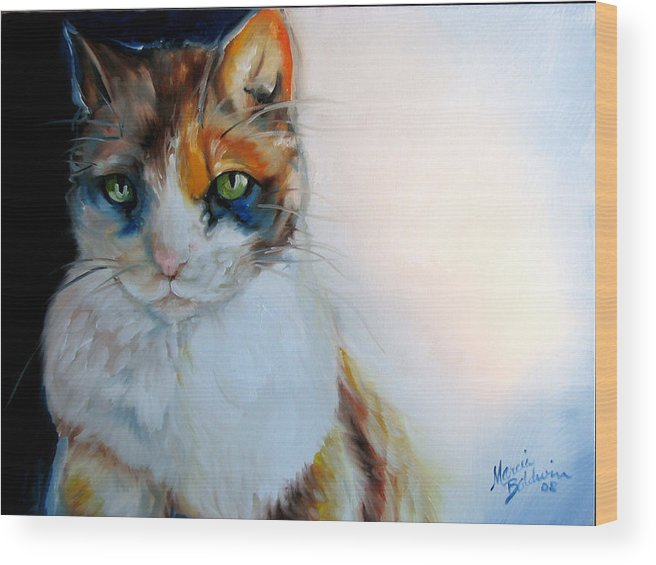 Cat Wood Print featuring the painting Shy Calli by Marcia Baldwin