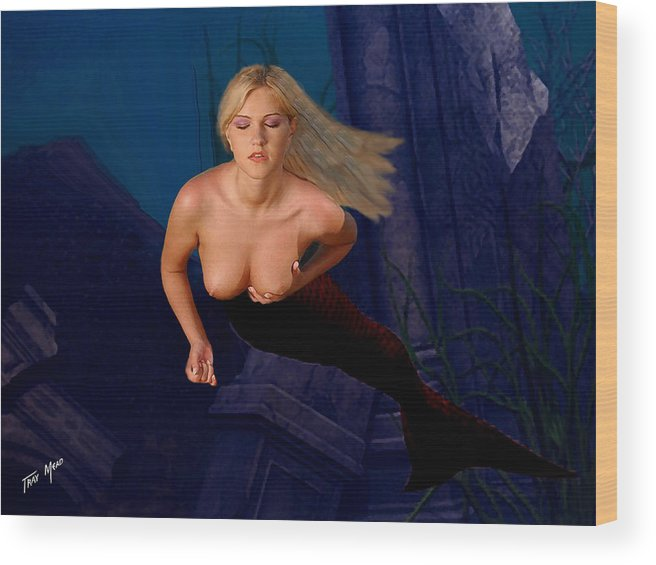 Mermaid Wood Print featuring the painting Silent Prayer by Tray Mead