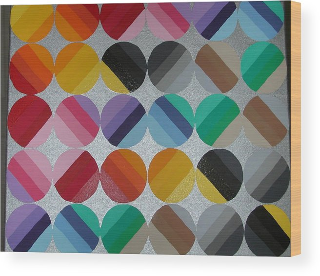Circles Of Yellow Wood Print featuring the painting Silver Lining by Gay Dallek
