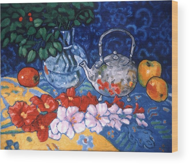 Still Life Wood Print featuring the painting Silver Tea Pot by Paul Herman