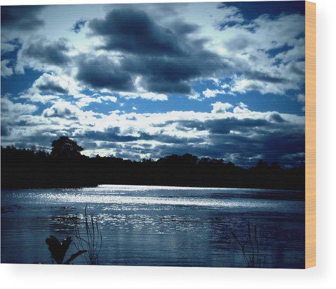 Sky Wood Print featuring the photograph Simple Blue by Lisa Jayne Konopka