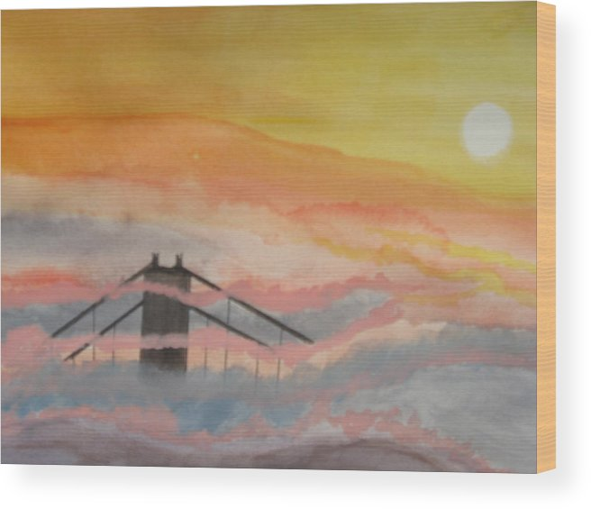 Golden Gate Bridge Wood Print featuring the painting Sittin On Top Of The Bay by Warren Thompson