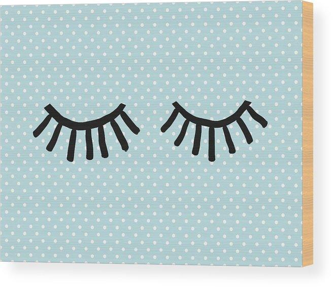 Eyes Wood Print featuring the mixed media Sleepy Eyes And Polka Dots Blue- Art By Linda Woods by Linda Woods
