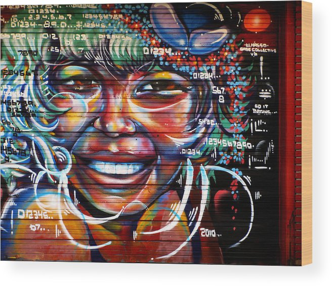 Graffiti Wood Print featuring the photograph Smile by Colleen Kammerer