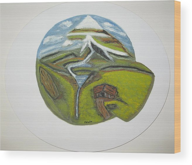 Mountains Wood Print featuring the painting Snow Cap Resort by Edwin Long