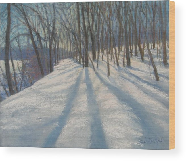 Mcgrath Wood Print featuring the painting Snow Day At Winnekini by Leslie Alfred McGrath