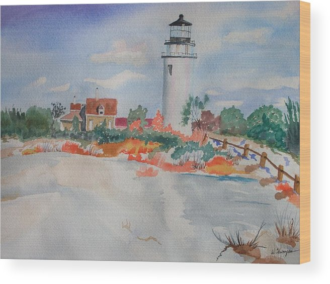 Snow Wood Print featuring the painting Snow Light At Cape Cod by Warren Thompson