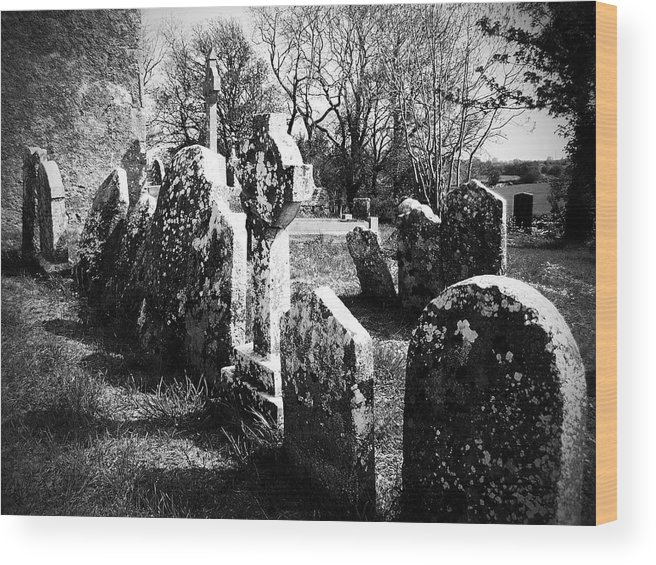 Ireland Wood Print featuring the photograph Solitary Cross At Fuerty Cemetery Roscommon Irenand by Teresa Mucha