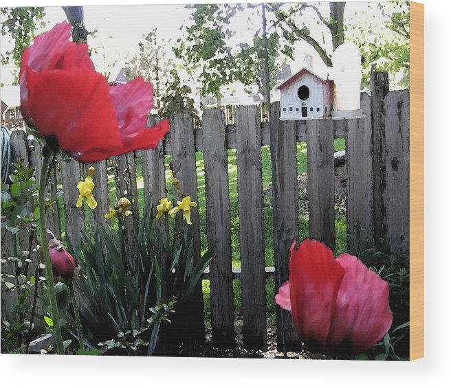 Poppy Wood Print featuring the painting Southside Poppy Garden by Mary Sonya Conti