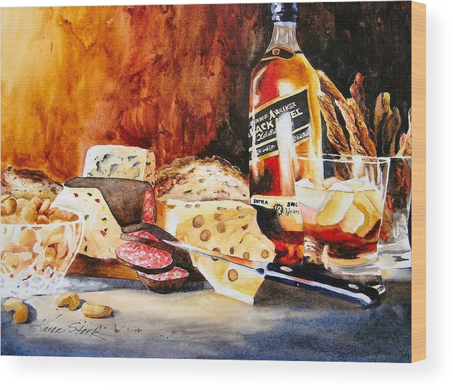 Scotch Wood Print featuring the painting Spirited Indulgences by Karen Stark