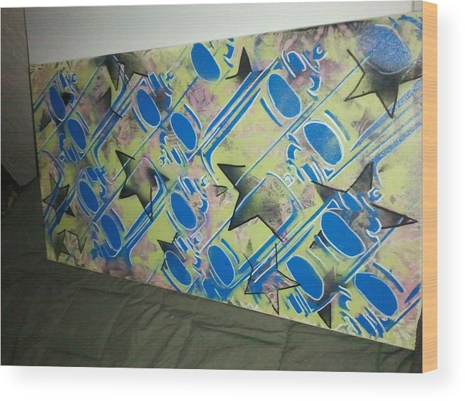 Spraypaint Cans Wood Print featuring the painting Spray Stars by Stacy Devanney