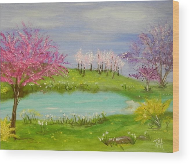 Colorful Wood Print featuring the painting Spring Fever by Patti Spires Hamilton