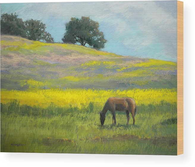 Horse Wood Print featuring the painting Spring Hill Grazing by Maralyn Miller