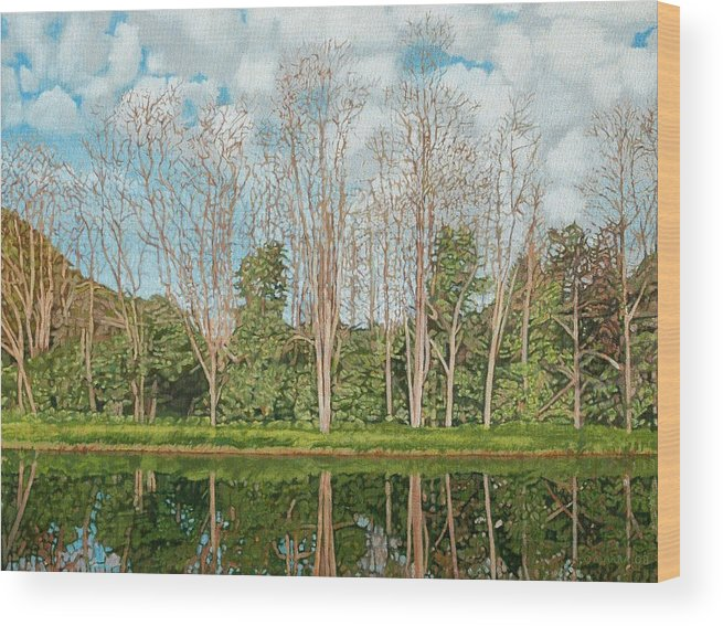 Landscape Wood Print featuring the painting Spring Pond Reflection by Allan OMarra