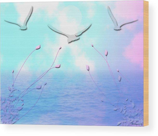 Ocean Wood Print featuring the digital art Spring Seas by Evelyn Patrick