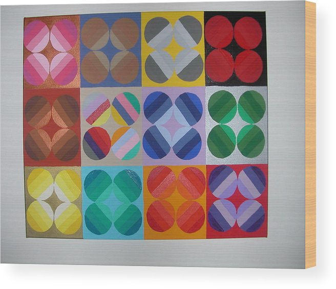 Multi Colored Circles On Squares Wood Print featuring the painting Square Dancing by Gay Dallek