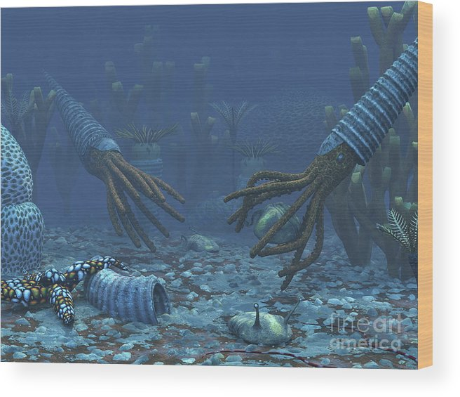 Earth Wood Print featuring the digital art Squid-like Orthoceratites Attempt by Walter Myers