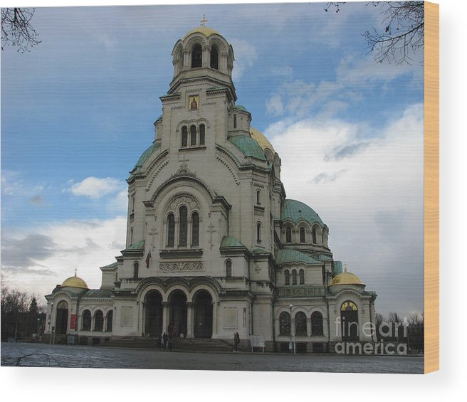 Cathedral Wood Print featuring the photograph St Alexander Nevski Cathedral In Sofiq by Iglika Milcheva-Godfrey