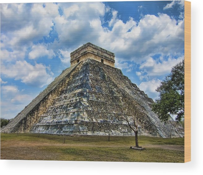 Chichen Itza Wood Print featuring the photograph Stairway To Infinity by Douglas Barnard