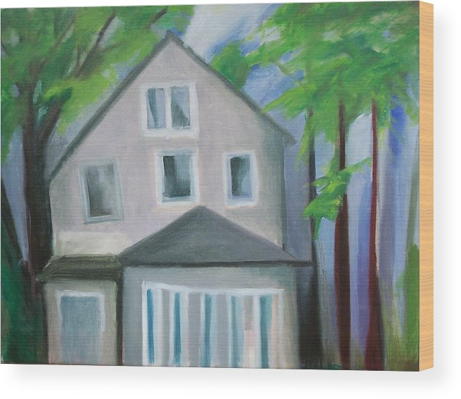 Suburbanscape Wood Print featuring the painting Staten Island House by Ron Erickson