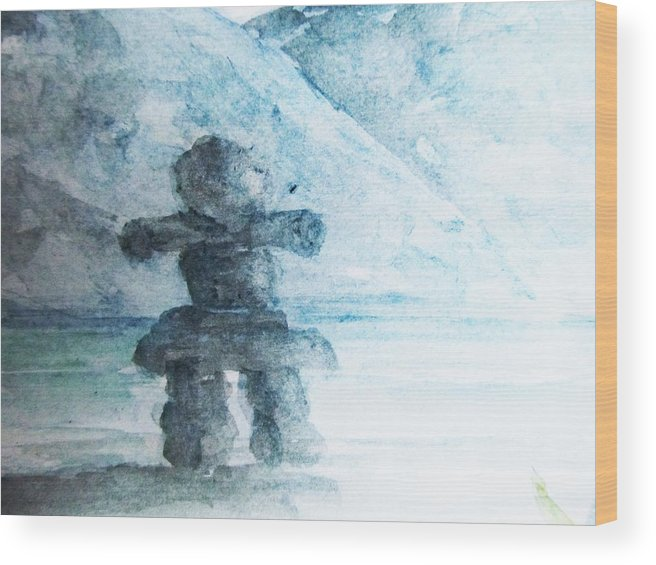 Inukshuk Wood Print featuring the painting Steadfast by Trilby Cole