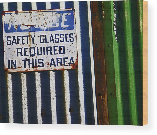 Abstract Wood Print featuring the photograph Steel City--safety Glasses by Lenore Senior
