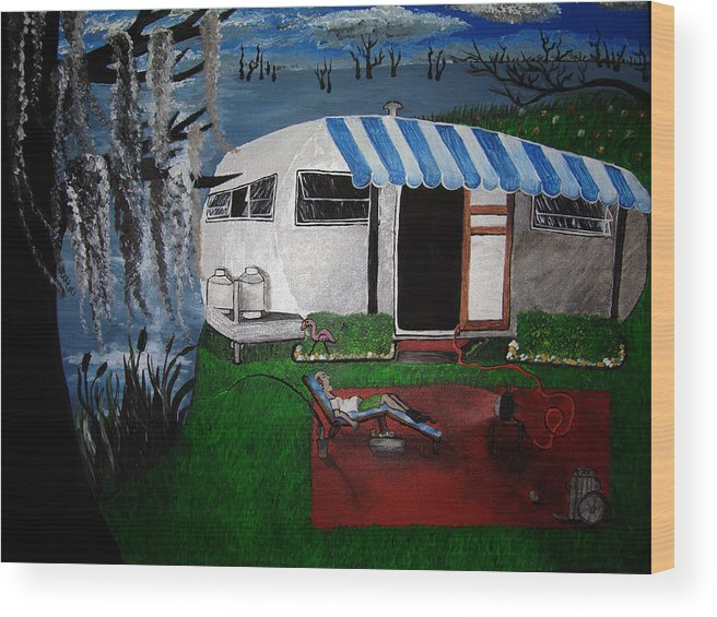 Trailer Wood Print featuring the painting Stereotype by Sharon Supplee