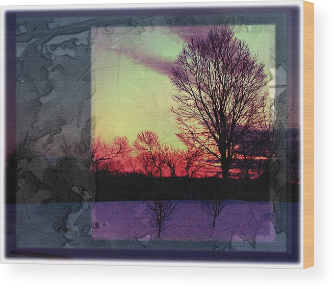 Sunset Wood Print featuring the photograph Stetson Overlook by Carol Everhart Roper
