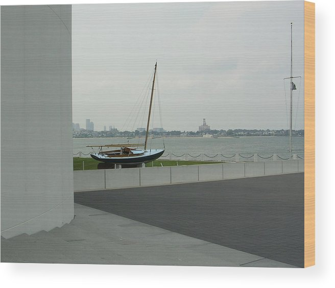 Sailboat Wood Print featuring the photograph Stilled Voyage by Nancy Ferrier