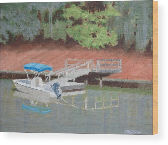 Power Boat Wood Print featuring the painting Stillwater Landing by Robert Rohrich