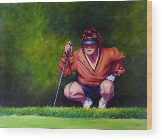 Golfer Wood Print featuring the painting Straightshot by Shannon Grissom