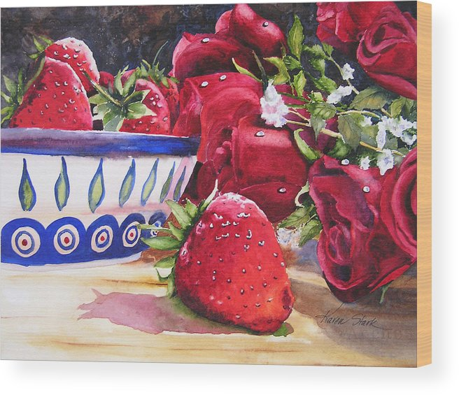 Strawberries Wood Print featuring the painting Strawberries And Roses by Karen Stark