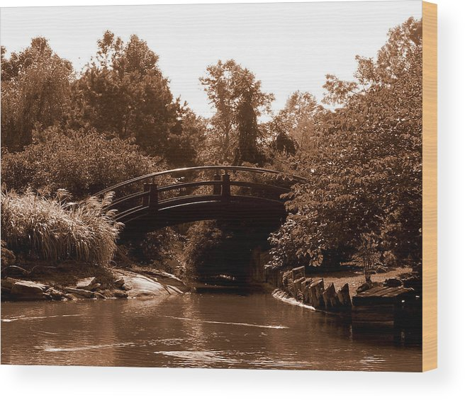 Sepia Wood Print featuring the photograph Stroll Garden Bridge by Audrey Venute