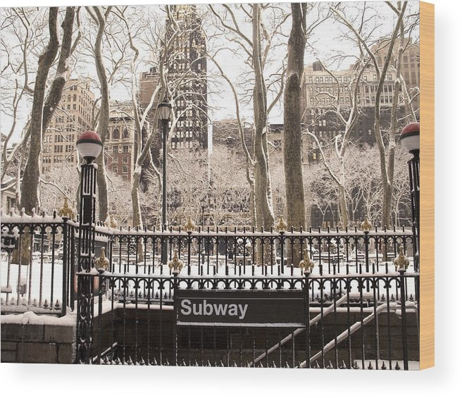 New York Wood Print featuring the photograph Subway Snow by Andrew Kazmierski