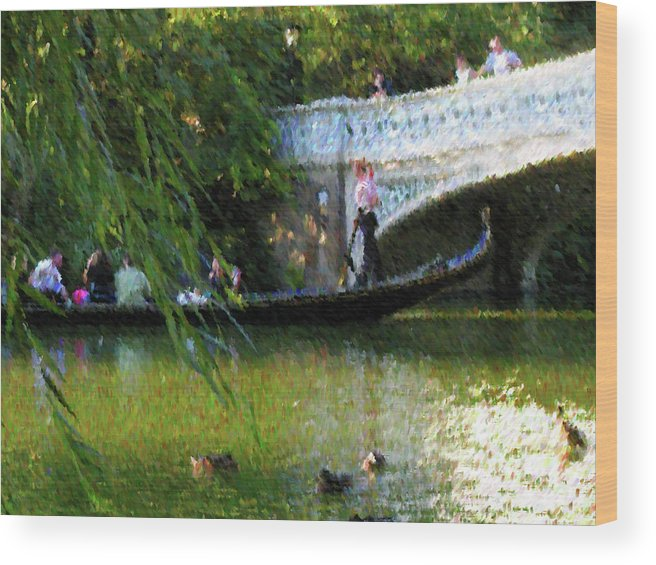 Park Wood Print featuring the mixed media Summer Bridge by John-Marc Grob