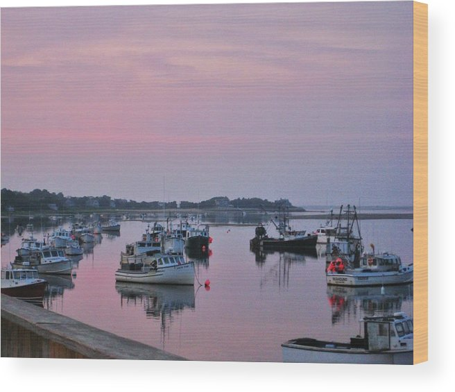 Boats Wood Print featuring the photograph Summer Day Ending  by Alex Schindel