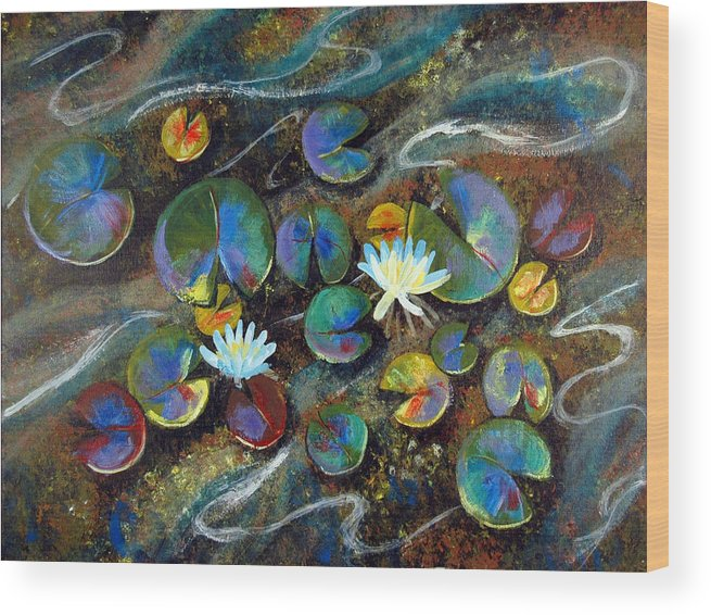 Lillies Wood Print featuring the painting Summer Lillies by Art Nomad Sandra Hansen