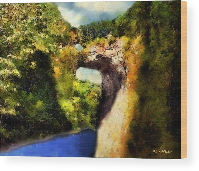 Landscape Wood Print featuring the painting Summer Morning, Natural Bridge by RC DeWinter