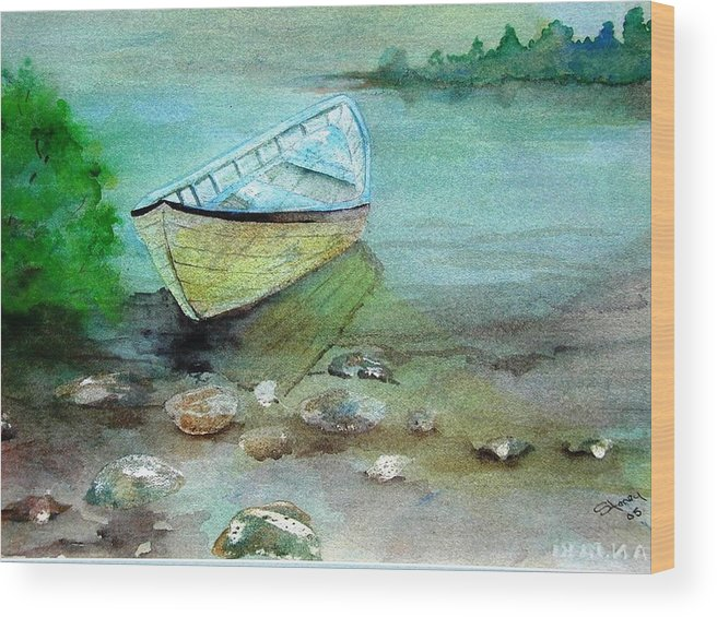 River Wood Print featuring the painting Summer Rowboat by Sandi Stonebraker