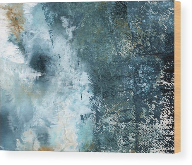 Abstract Wood Print featuring the painting Summer Storm- Abstract Art By Linda Woods by Linda Woods