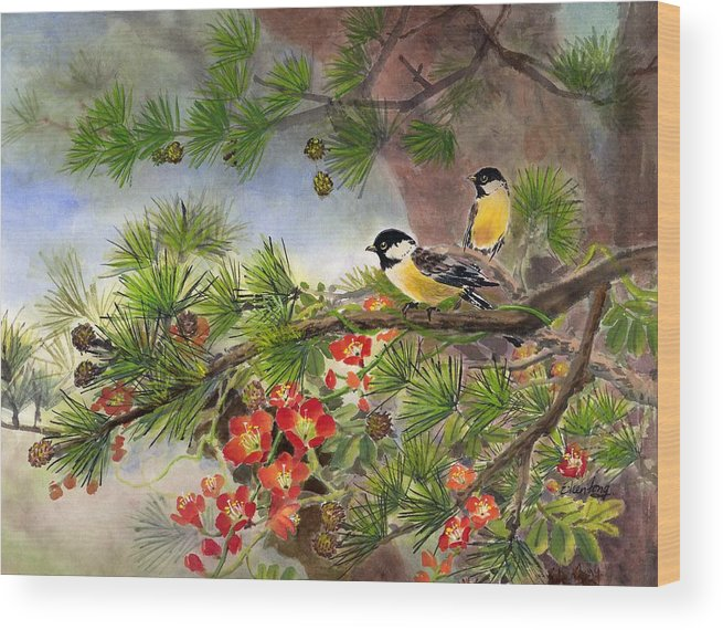Chinese Trumpet Vine Wood Print featuring the painting Summer Vine With Pine Tree by Eileen Fong