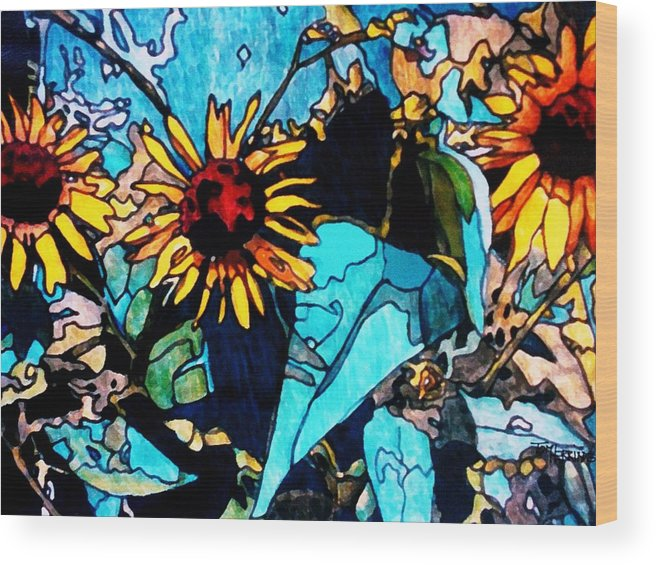 Sunflowers Wood Print featuring the painting Sunflowers Blue by Tom Herrin