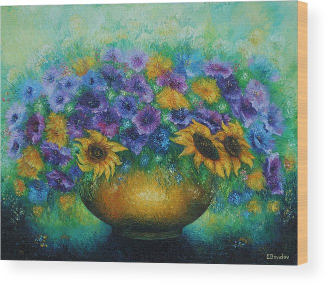 Flowers Wood Print featuring the painting Sunflowers No 2. by Evgenia Davidov