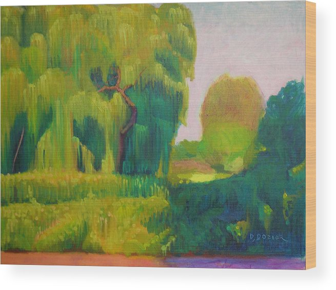 Landscape Wood Print featuring the painting Sunny Day Indian Boundary Park by David Dozier